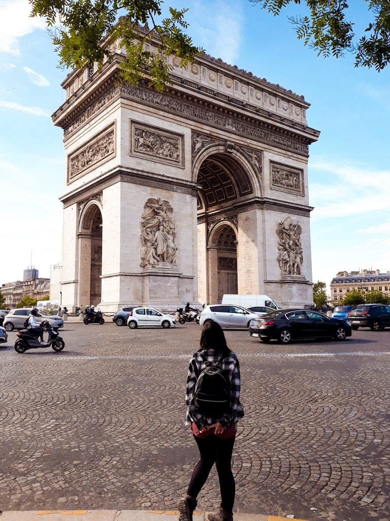 Arco del Triunfo desde abajo Viajar a París antes de los 26