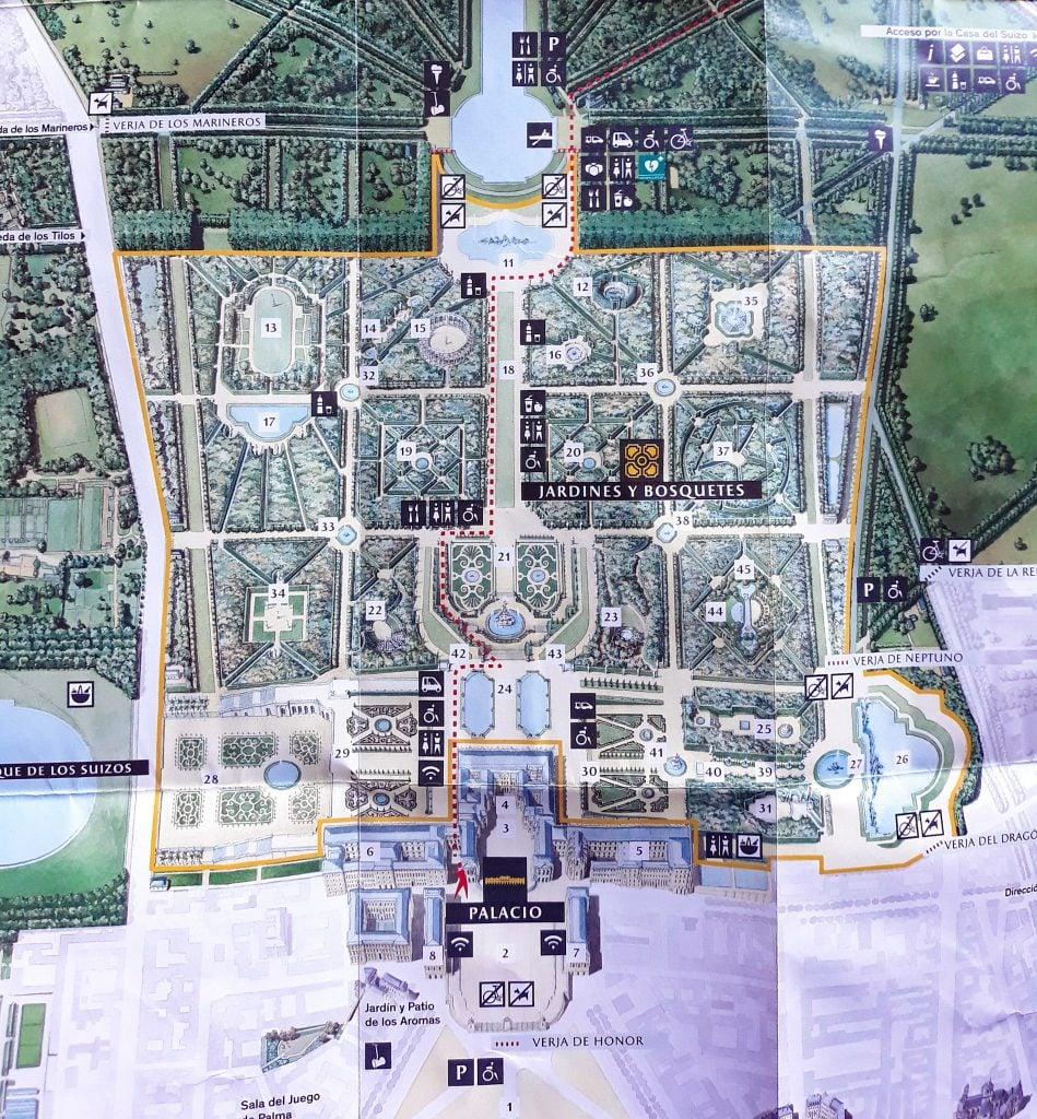 Plano del Palacio y Jardines de Versalles.