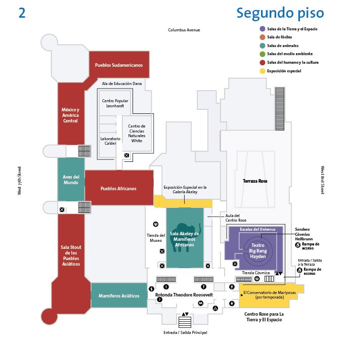 Plano del segundo piso del museo americano de historia natural de Nueva York.