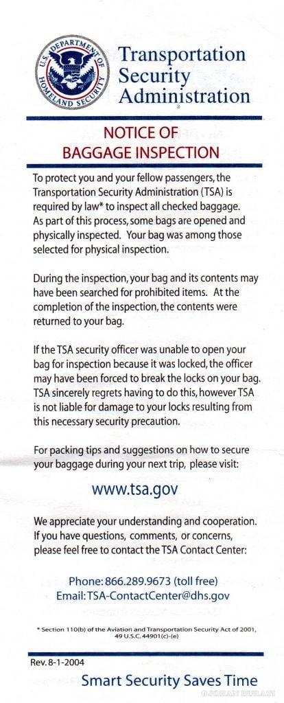 Notificación de TSA