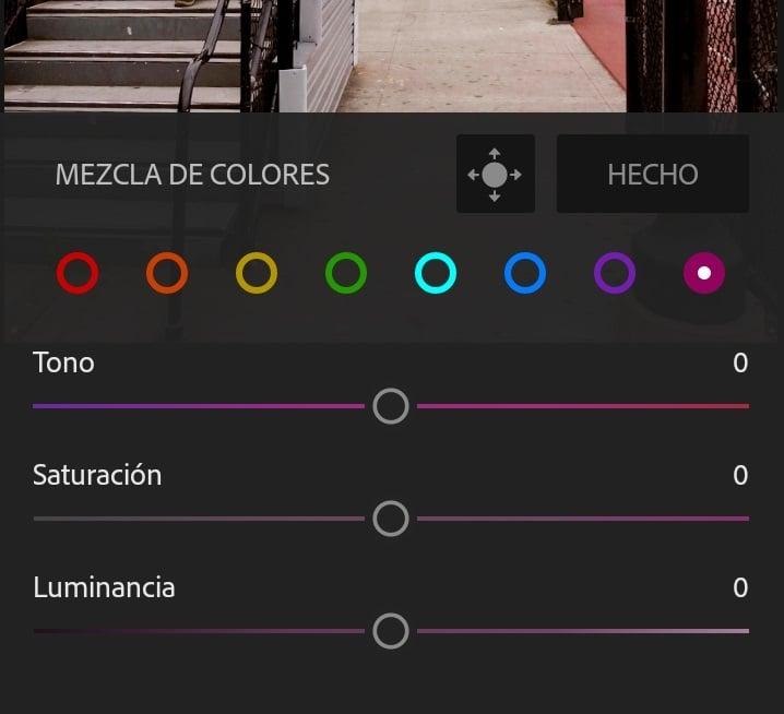 Lightroom aplicación para móvil.