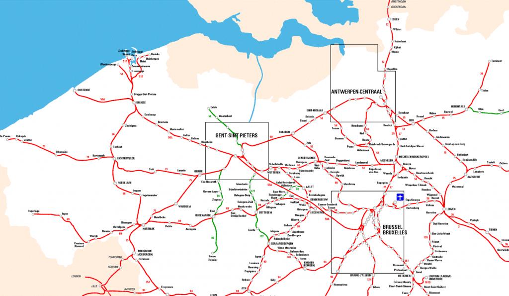 Mapa de trenes de la zona de Flandes