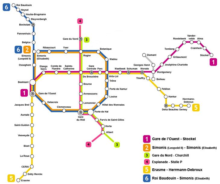 mapa de metro de Bruselas
