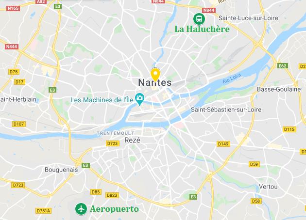 mapa nantes ruta bretaña hacia Rennes